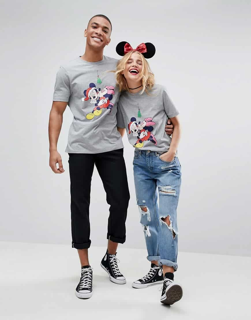 ASOS CHRISTMAS T Shirt with Minnie and Micky Mouse Print Grey