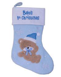 Baby;s første julestrømpe, filt, lyseblå